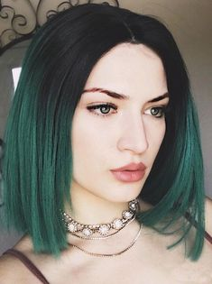 Short Black To Green Ombre Bob Synthetic Lace Front Wig - FashionLoveHunter Green Hair Ombre, Black And Green Hair, Ombre Bob Hair, Emerald Green Hair, Brown Ombre Hair, Ombre Hair Color, Short Green Hair, Long Bob Haircuts, Long Bob Hairstyles