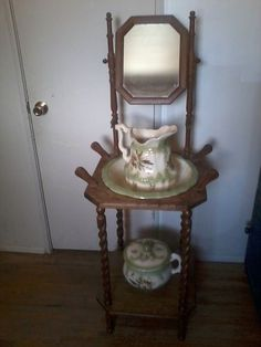 Antique wood wash stand pitcher.