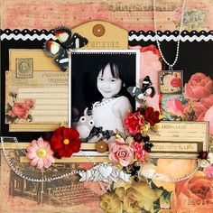 The black  white contrast mingled with the colors  3D designs aid in bring like to this lovely girl.   Memory Lane by Licious
