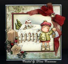 Cute Christmas Card...Dena's Stamping Corner: Just Magnolia and Hanglar Stanglar Challenge.
