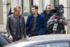 Richard Armitage with Rhys Ifans filming  Berlin Station. shooting March 8, 2016