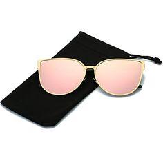 cbe0b983034 LKEYE Oversized Cat eye Sunglasses Metal Frame Mirror Lens Eyewear LK1704  Gold FramePink lens
