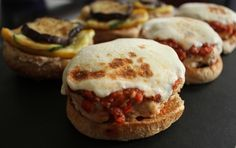Domesticate Me!: Skinny Chicken Parm Burgers with Grilled Vegetables. A healthy twist on classic comfort food.