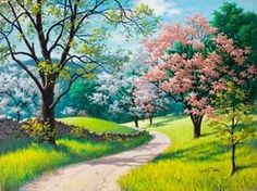 Spring Blossoms Arthur Saron Sarnoff живопись весна деревья в цвету зеленая трава дорога каменный забор HD обои для ноутбука