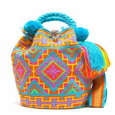 Original Wayuu Bags of One Thread Hebra - Fine Mochila Bags Hippie Bags, Boho Bags, Tapestry Bag, Tapestry Crochet, Crochet Tote, Crochet Handbags, Fabric Bags, Cotton Bag, Knitted Bags