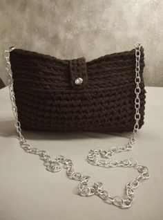 t shirt yarn purse - bag in brown with crystal button and long chain by yrozaf on Etsy Yarn Bag, T Shirt Yarn, Crochet Projects, Buttons, Shoulder Bag, Wallet, Chain, Crystals, Creative