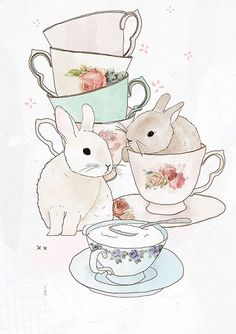 bunnies and tea by Tabitha Patterson
