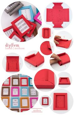 DIY Room Decor: How to Express Yourself Without Spending Too Much,paper frames Ideias Diy, Frame Crafts, Paper Frames, Cardboard Crafts, Diy Box, Diy Paper, Wrapping Ideas, Diy Room Decor, Diy Gifts