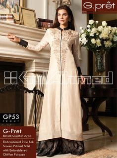 GP-53. Embroidered Raw Silk Screen Printed Shirt with Embroidered Chiffon Palazzo
