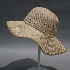 Crochet Summer Hat all in one Crochet Hat With Brim, Crochet Summer Hats, Crochet Hat For Women, Love Crochet, Crochet Hats, Baby Doll Shoes, Sombrero A Crochet, Bikinis Crochet, Crochet Sandals