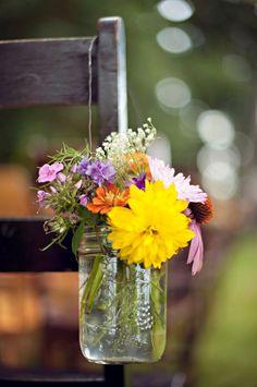 mason jar flower hangers <3 so cute for chairs along the aisles