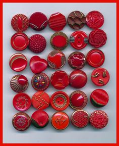 Assorted Designs - Thirty Vintage Red Glass Small Buttons
