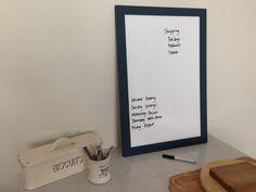Large framed whiteboard // Navy blue frame by FramedNoticeBoardCo