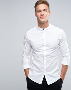 ASOS Skinny Shirt In White With Grandad Collar And Gunmetal Popper $23.50