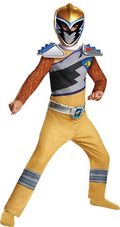 Dino Charge is the season of the long-running children's television show, Power Rangers. Harnessing the power of the Pteranodon, the Gold Dino Charge Ranger will defend Earth at all costs! Costume includes jumpsuit and mask.