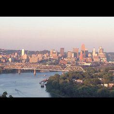 The sun sets over Downtown Cincinnati as seen from Mount Echo Park in Price Hill. (The Enquirer/Shauna Steigerwald)