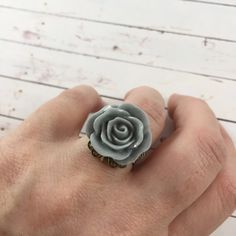Vintage Inspired Romantic Gray Flower Statement Ring // Adjustable Jewelry by MonicaRudyJewelry