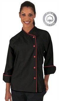 Women's Raglan 3/4 Sleeve Chef Coat - Snap Front - 100% Premium Pima Cotton Style # 83155 #chefuniforms #womensclothing #womenschefwear #chef #women #red #black #fashion #style