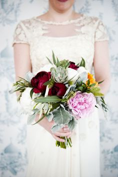 Gorgeous peony and succulent bouquet: http://www.stylemepretty.com/2014/09/15/brooklyn-urban-garden-wedding/ | Photography: Khaki Bedford - http://www.khakibedfordphoto.com/