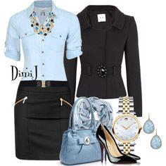 Blue Naf Naf blouse, black Femme skirt, black Nine West pumps, Silver mens' watch, blue earrings