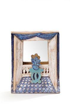 Jean DERVAL (1925-2010° Miroir rectangulaire à décor de fenêtre, émail bleu et beige dominant Signé H: 43 cm L: 34 cm - Aguttes - 03/12/2015