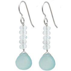 Ashanti Sterling Silver Aquamarine and Chalcedony Earrings (Sri Lanka) | Overstock.com Shopping - The Best Deals on Earrings