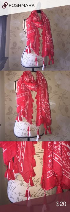 Red Bandana print scarf/ wrap New without tags. Multifunctional red with white bandana print and fun  large red tassels Accessories Scarves & Wraps