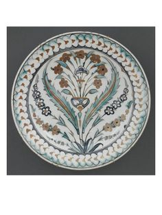 Plat au bouquet entre 2 feuilles saz - Musée national de la Renaissance (Ecouen)