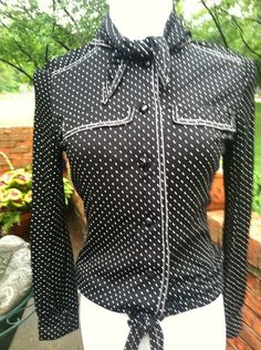 Black and White Polka Dot Blouse With Western Flair Vintage 1970's ILGWU label