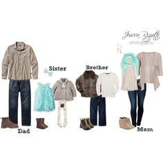 """""""What To Wear - Winter Family Portraits / Aqua & Neutrals"""" by jessicarizzottophotography on Polyvore"""