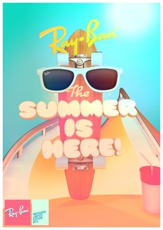 Ray-Ban - Summer is Here! by Federico Cerdà Graphic Design Inspiration, Creative Inspiration, Daily Inspiration, Typographic Poster, Beautiful Fonts, Communication Design, Summer Is Here, True Art, Creative Advertising