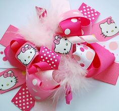 boutique FUNKY fun pink pink HELLO kitty hair bow clip.