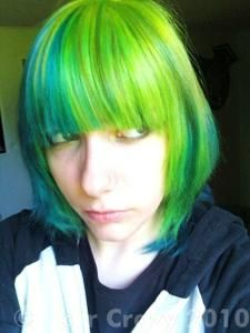 By: Products: Manic Panic Hair Colour - Electric Banana Manic Panic Hair Colour - Electric Lizard Manic Panic Hair Colour - Shocking Blue Manic Panic Hair Color, Neon Green Hair, Half And Half Hair, Shocking Blue, My Lil Pony, Cool Face, Crazy Colour, Pony Hair, How To Make Hair