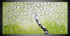 Modern Acrylique Peinture Abstrait Contemporain sur Toile Art Deco Arbre Olive Turquoise Blanc 120 x 60 cm