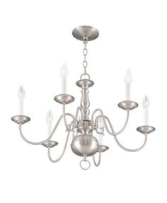 Simple, yet refined, the traditional, colonial chandelier is a perennial favorite. Part of the Williamsburgh series, this handsome chandelier is a timeless beauty. Livex Lighting, Chandelier Lighting, Buy Chandelier, Brushed Nickel Chandelier, Boutique, Timeless Beauty, Classic Style, Bulb, Ceiling Lights
