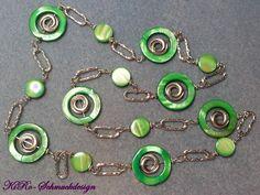 Endlosketten - Traumhafte grüne Perlmutt-Endloskette - ein Designerstück von KiRoWeb-Schmuckdesign bei DaWanda