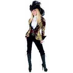 Adult Elegant Pirate Lady Costume  sc 1 st  Pinterest & Sexy Womens Deluxe Gold Pirate Queen Fancy Dress Halloween Costume ...