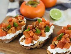 Persimmon Breakfast Bruschetta Persimmon Recipes, Sourdough Bread, Fresh Ginger, Bruschetta, Tray Bakes, Ricotta, Breakfast Recipes, Lime, Food And Drink