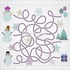 Snowmen labyrinth game for Preschool Children. vector Royalty Free Stock Vector Art Illustration