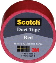 3M 1005-RED-IP Scotch Colored Duct Tape-Scotch RED Duct Tape, Yellow