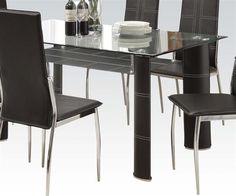 Riggan Casual Black Chrome PU Glass Dining Table