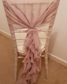 Show more of your beautiful chairs with a ruffled hood tied more at the top, which shows both the hood and chair! Wedding Events, Chairs, Sparkle, Curtains, Top, Beautiful, Home Decor, Insulated Curtains, Homemade Home Decor