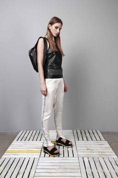 laser cutted leather tank top_cuboid half backpack_silk trousers_black_white