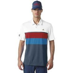 343fc15dc2fa adidas Golf ClimaCool USA Engineered Stripe Polo - White Mineral Blue