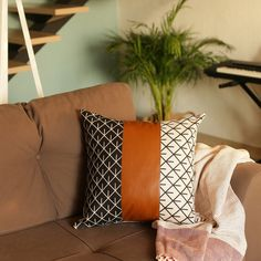 Laurel Foundry Modern Farmhouse Jaxson Decorative Geometric Pillow Cover & Reviews Leather Throw Pillows, Leather Pillow, Striped Room, Grommet Curtains, Curtain Panels, Panel Curtains, Love Your Home, Deck Chairs, Geometric Pillow
