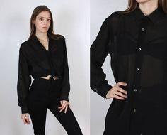 Vintage Sheer Button Up // 90s Grunge Striped Black Long