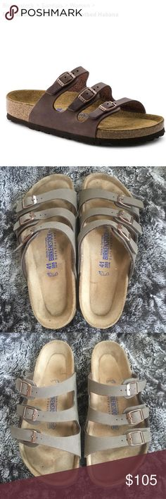 Birkenstocks Soft Footbed Sandals Size 41 Florida Oiled Leather Soft Footbed Habana Birkenstocks.   Very minimal wear- only tried on inside. Never worn outside. Just not my style. See wear in photos.  Please let me know if you have any questions! Birkenstock Shoes Sandals