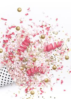 Pink, white, & gold confetti party image Happy New Year 2018 New Year's Eve Party