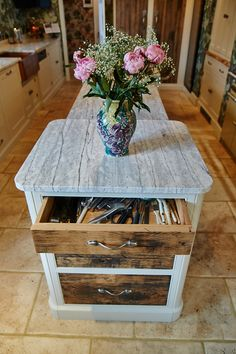 Gorgeous rustic kitchen style with floral details from The Main Company. http://themaincompany.co.uk/kitchen/project4/26