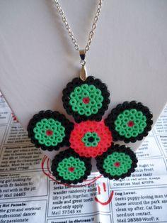 Hama Bead Pink Green Flower Necklace by LorelaiDinda